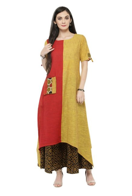 Varanga Rust & Yellow Cotton Kurta With Palazzo