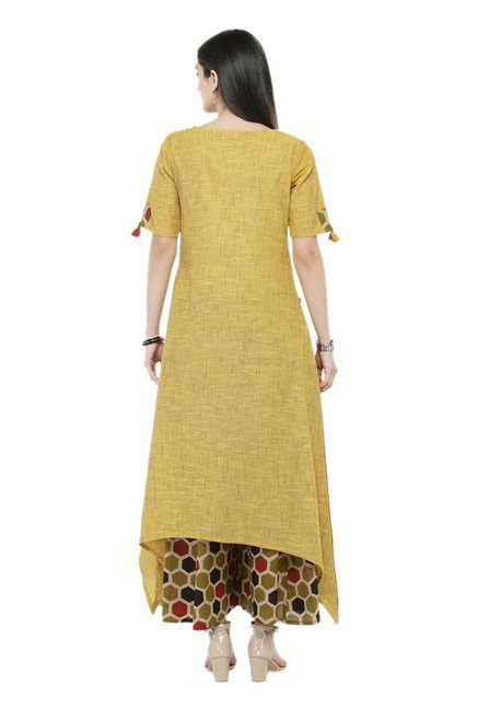 Varanga Rust & Olive Textured Cotton Kurta With Palazzo