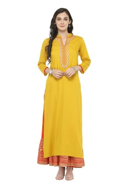 Varanga Yellow & Orange Viscose Rayon Kurta With Skirt