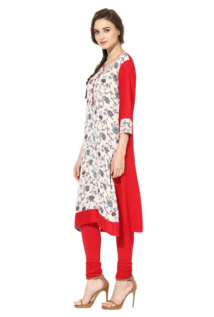 Mytri Beige & Red Printed Rayon Straight Kurta