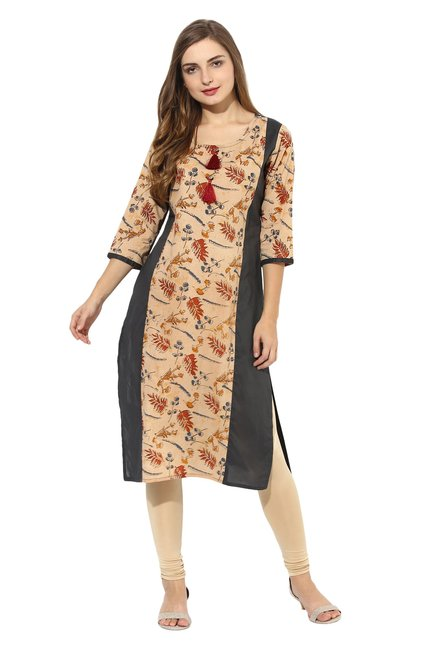 Mytri Beige & Grey Printed Cambric Straight Kurta