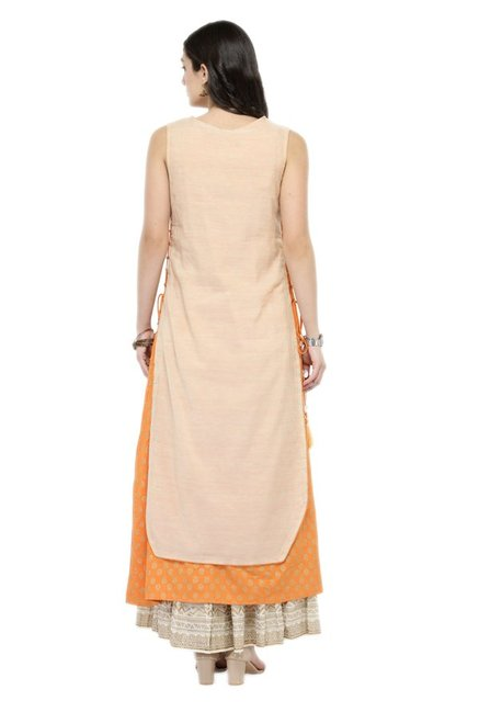 Varanga Peach & Orange Chanderi & Cotton Kurta