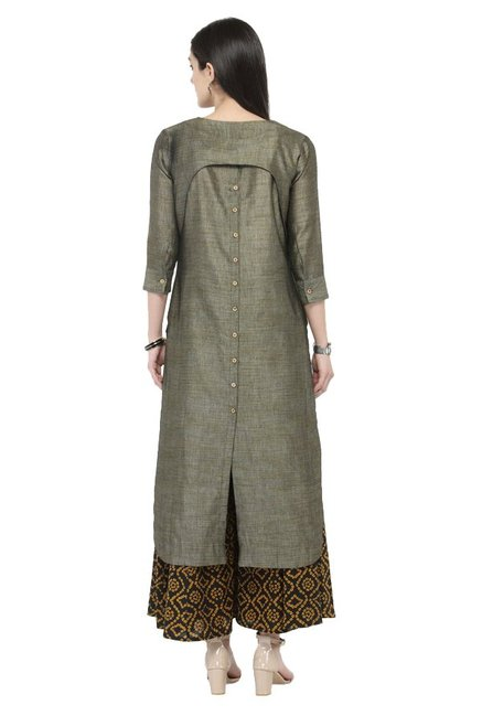 Varanga Dark Grey Textured Cotton Kurta