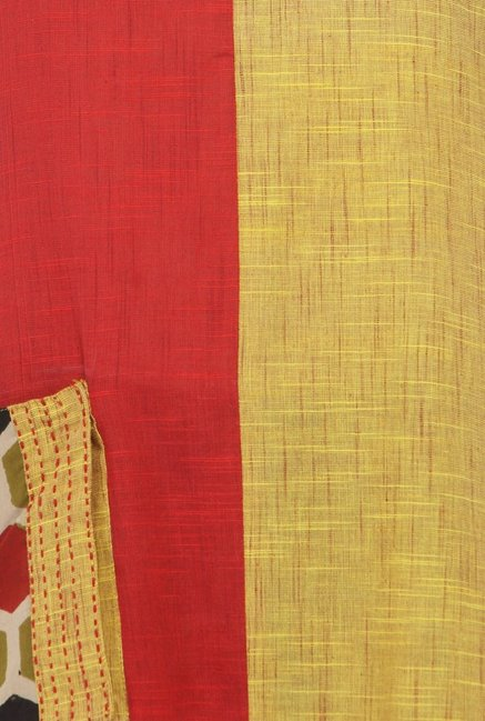 Varanga Red & Mustard Textured Cotton Kurta