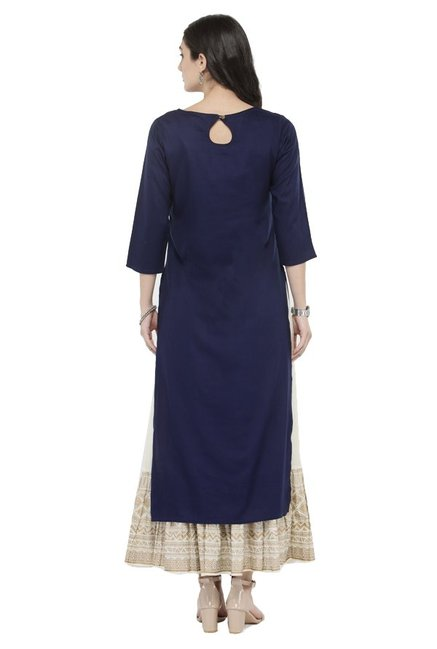 Varanga Navy & Off White Viscose Rayon Kurta With Skirt