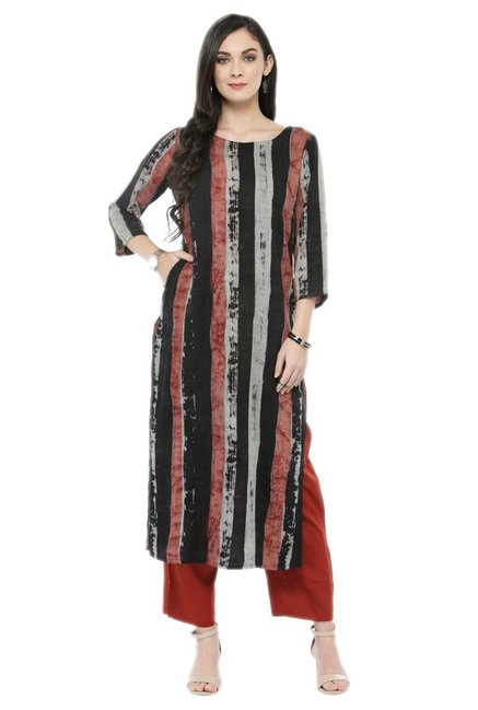 Varanga Black & Rust Viscose Rayon Kurta With Pants