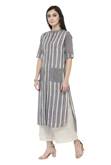 Varanga Grey & White Striped Cotton Kurta With Palazzo