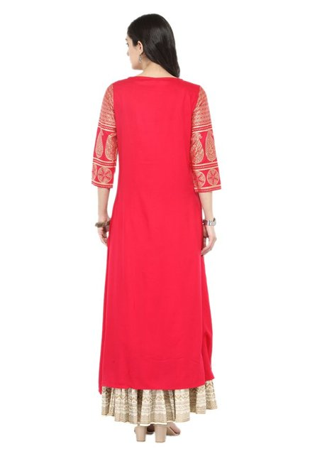 Varanga Pink & Off White Viscose Rayon Kurta With Skirt