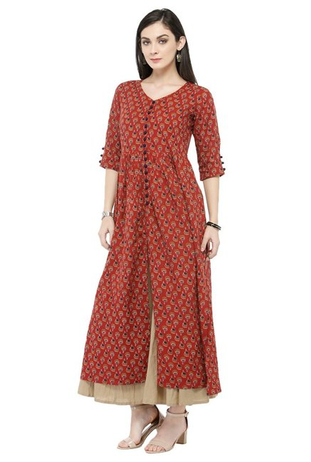 Varanga Rust & Beige Printed Cotton Kurta With Palazzo