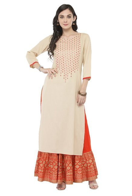 Varanga White & Orange Viscose Rayon Kurta With Skirt