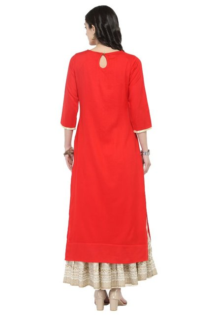Varanga Red & Off White Viscose Rayon Kurta With Skirt