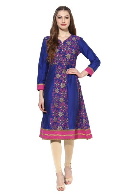 Mytri Royal Blue Printed Polyester Anarkali Kurta