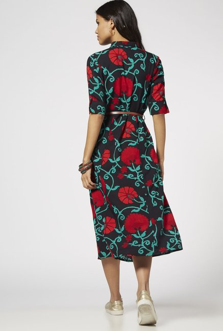 Bombay Paisley by Westside Grey Floral Dress with Belt