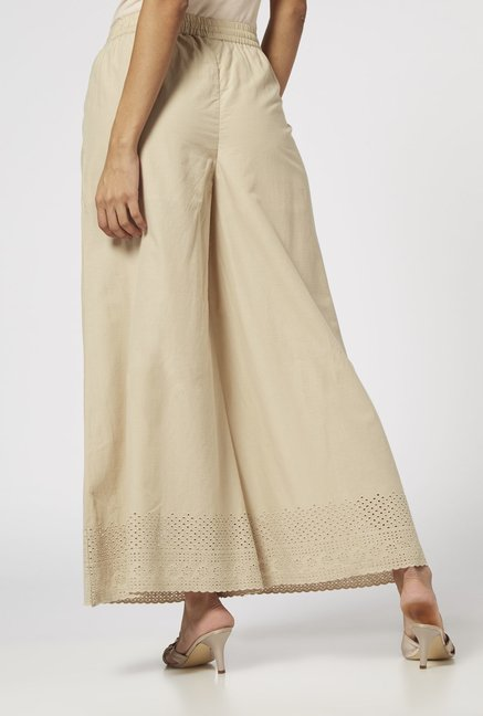 Zuba by Westside Beige Pure Cotton Palazzos