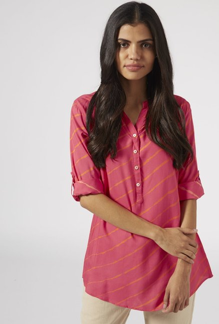 Utsa by Westside Pink Striped Kurti