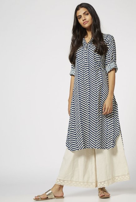 Utsa by Westside Indigo Chevron Kurta