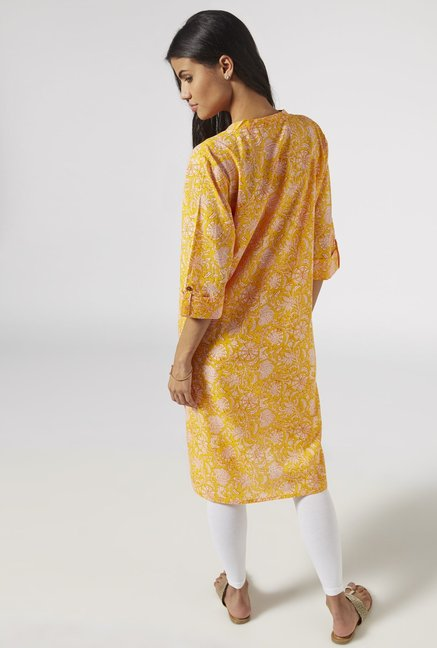 Utsa by Westside YelLow Cotton Printed Kurta