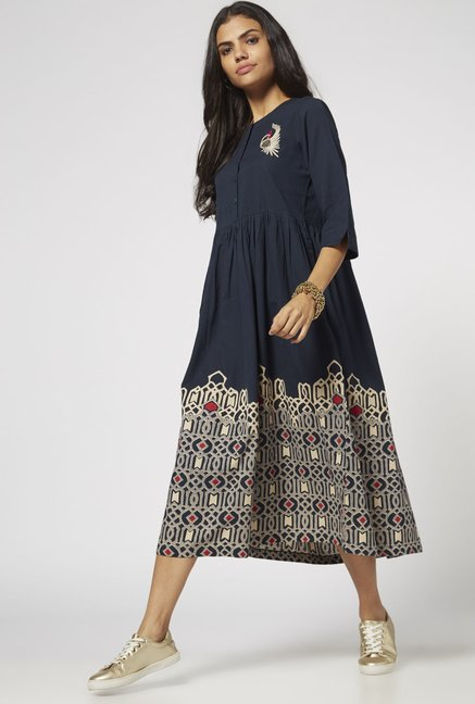 Bombay Paisley by Westside Navy Floral Dress