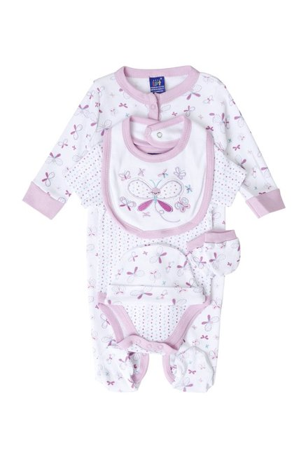 Lilliput Kids Pink Printed Romper Set