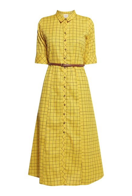 Bombay Paisley by Westside Yellow Checked Dress
