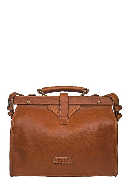 Hidesign Grazia Tan Solid Leather Doctors Handbag