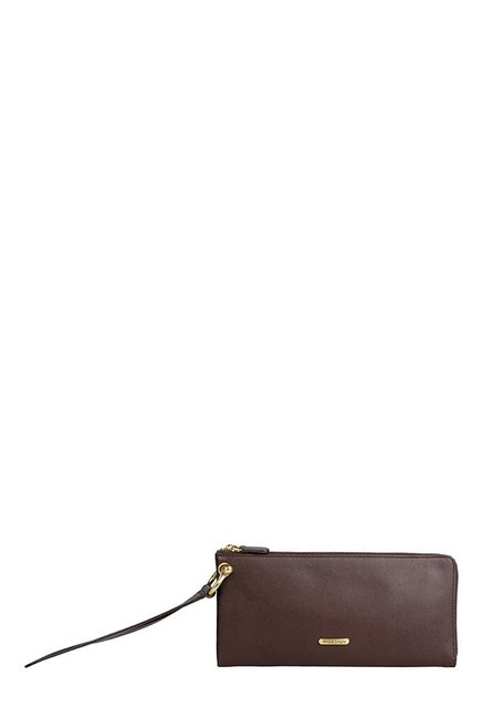 Hidesign Martella W2 Dark Brown Solid Leather Wristlet