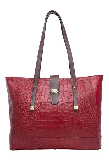 Hidesign SB Atria 01 Dark Red Textured Laptop Shoulder Bag
