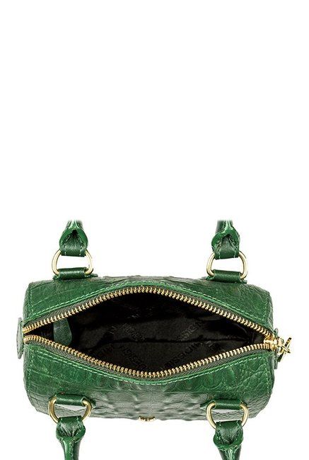 Hidesign Suzie Green Textured Leather Bowler Handbag