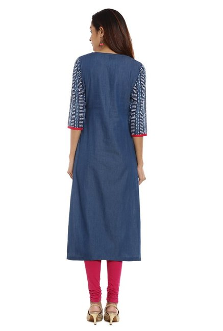 Soch Blue Embroidered Denim Kurta
