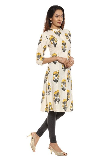Soch Off White & Yellow Printed Cotton Kurta