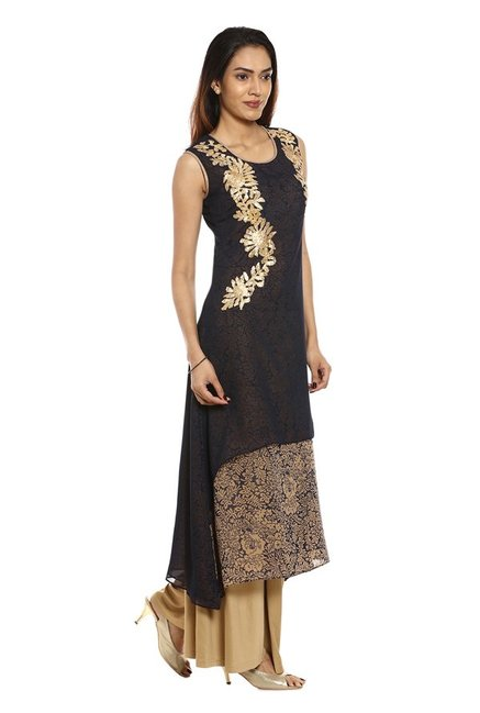 Soch Navy & Beige Embroidered Georgette Kurta