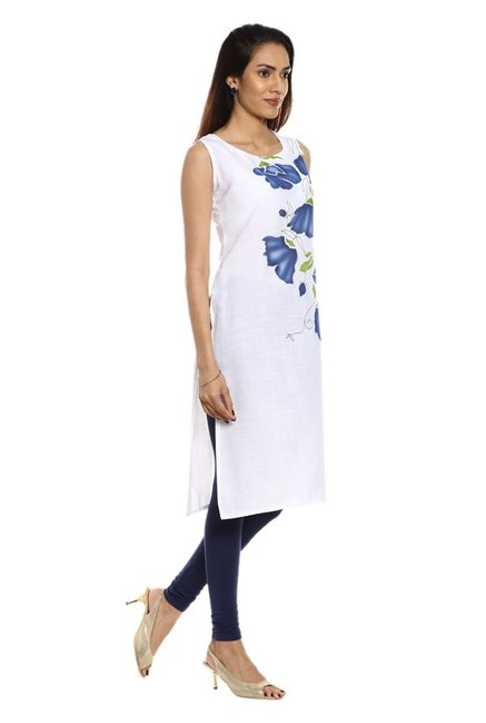 Soch White & Navy Printed Cotton Kurta