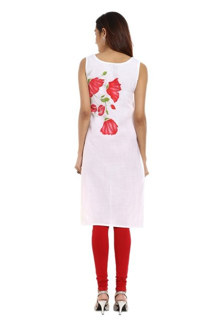Soch White & Red Printed Cotton Kurta