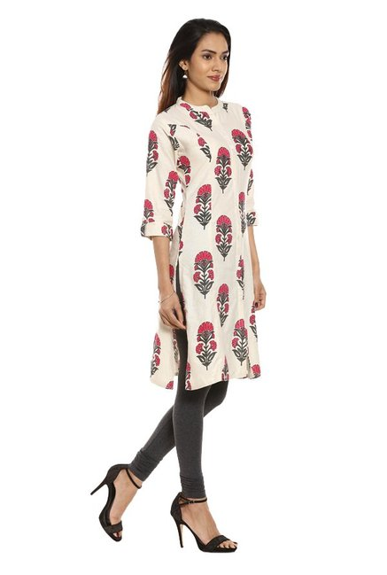 Soch Off White & Pink Printed Cotton Kurta