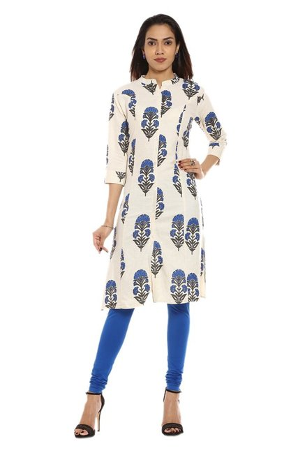 Soch Off White & Blue Printed Cotton Kurta
