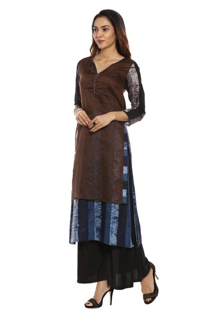 Soch Brown & Navy Printed Chanderi Kurta