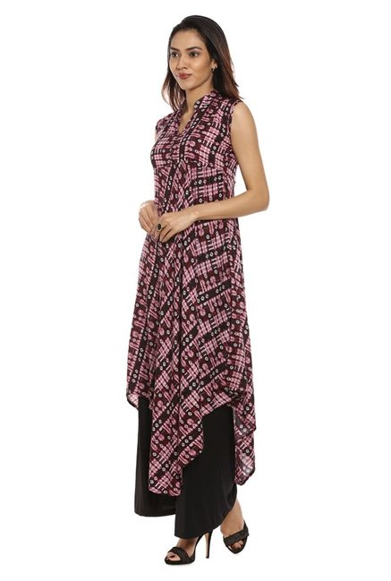 Soch Purple & Black Printed Rayon Kurta