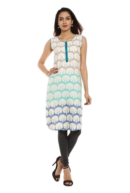 Soch Off White & Teal Printed Cotton Kurta