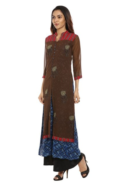 Soch Brown & Navy Printed Georgette Kurta