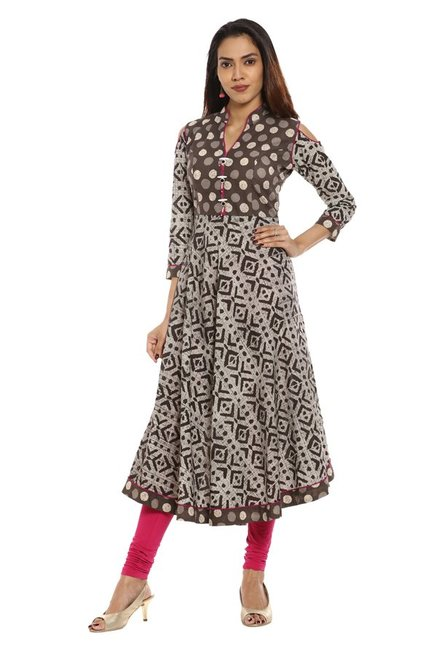 Soch Brown & Beige Printed Cotton Kurta