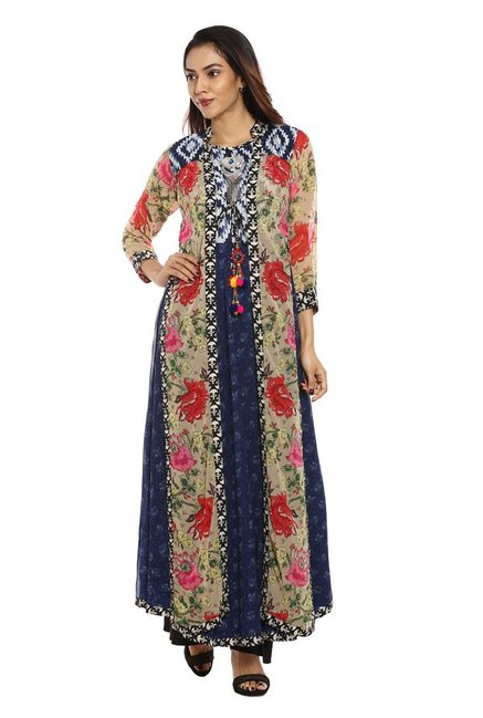 69320f52620 Buy Soch Beige   Navy Floral Print Georgette Kurta for Women Online ...