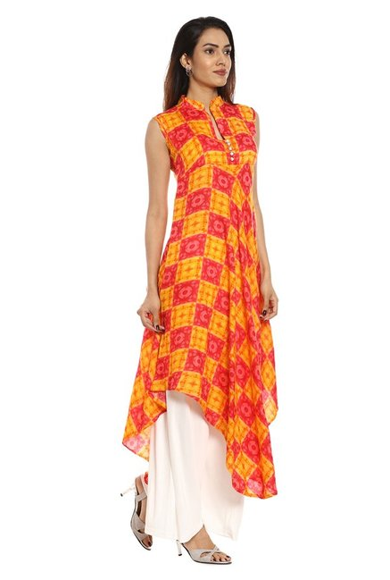 Soch Yellow & Red Printed Rayon Kurta