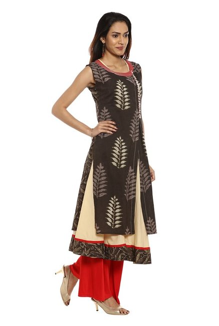 Soch Brown Printed Cotton Kurta