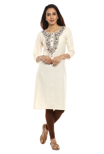 Soch White & Brown Embroidered Cotton Kurta