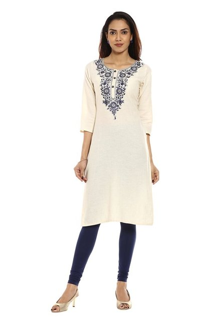 Soch White & Navy Embroidered Cotton Kurta