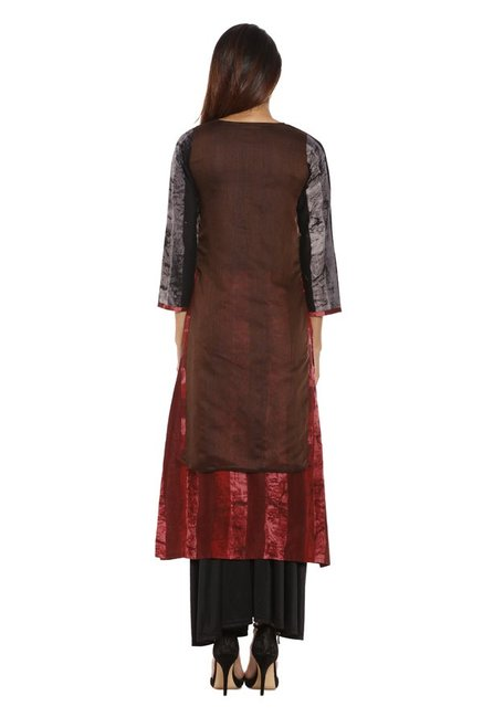 Soch Brown & Maroon Printed Chanderi Kurta