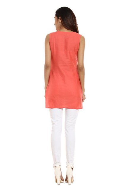 Soch Peach Printed Cotton Kurti