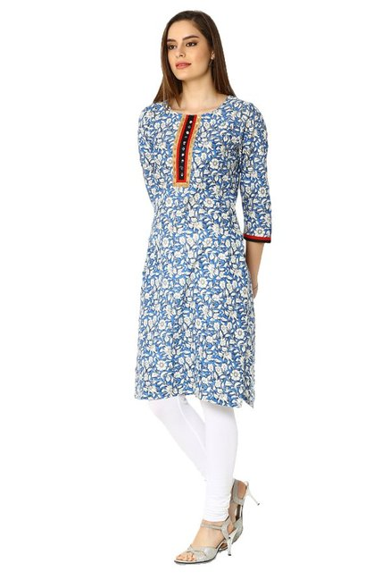 Soch Blue Floral Print Cotton Kurta