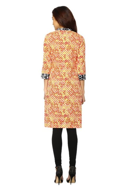 Soch Orange & Cream Printed Cotton Kurti