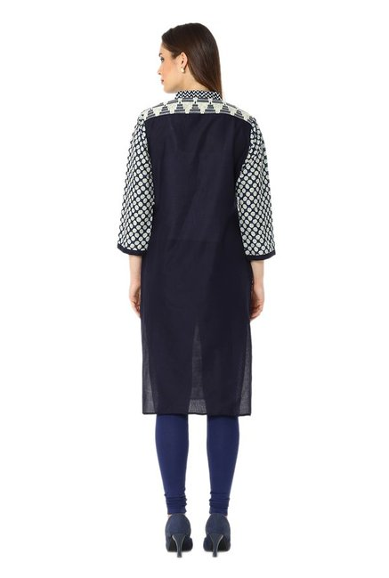 Soch Blue & Cream Printed Cotton Kurta